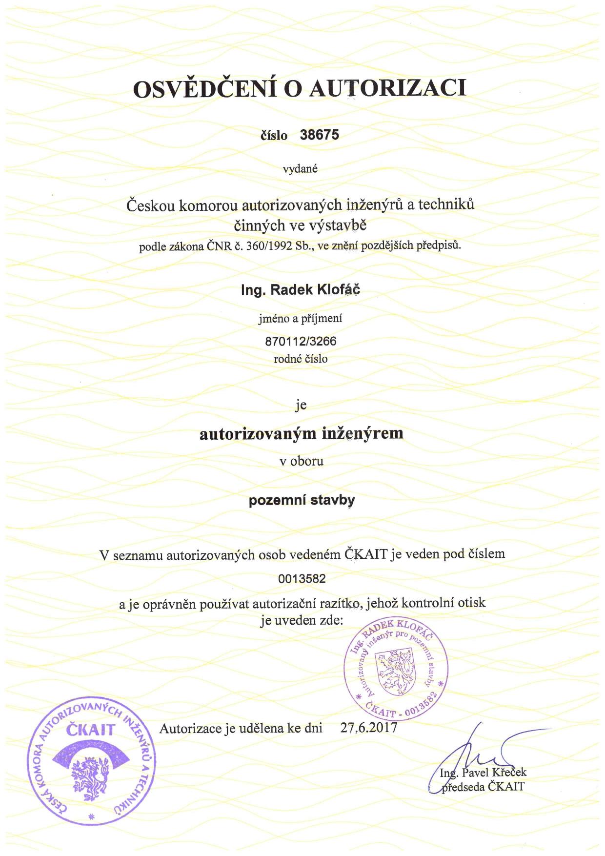 Autorizace - Ing. Klofáč - pozemní stavby